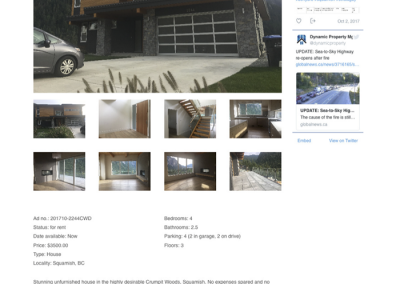 Example of rental property listing