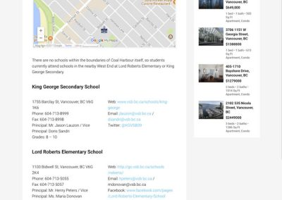 Downtown Vancouver sub-site example Schools page