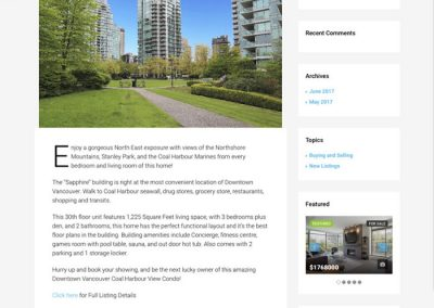 Downtown Vancouver sub-site example blog post