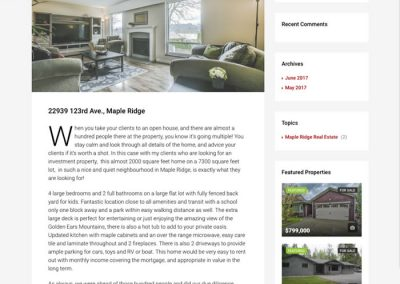 Maple Ridge sub-site example blog post